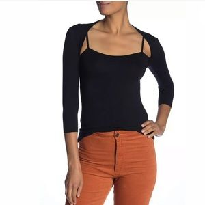 Bailey 44 Bai Turn Out Knit Tee Top Black Straps S